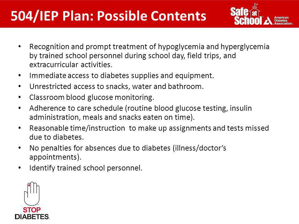 504/IEP Plan: Possible Contents