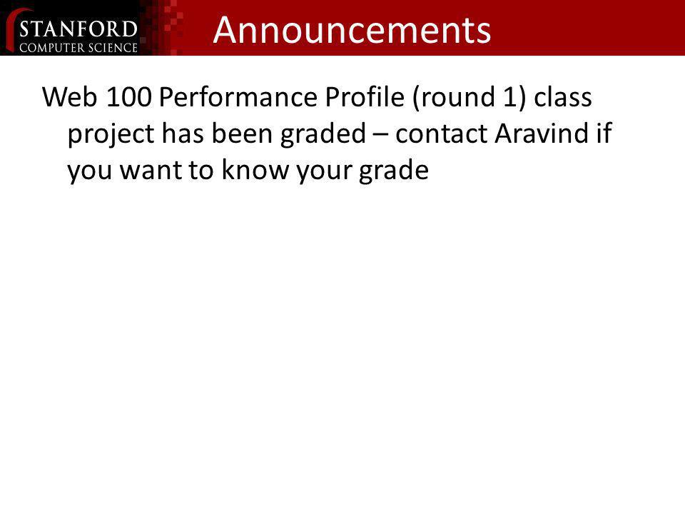 AnnouncementsWeb 100 Performance Profile (round 1) class project has been graded – contact Aravind if you want to know your grade.