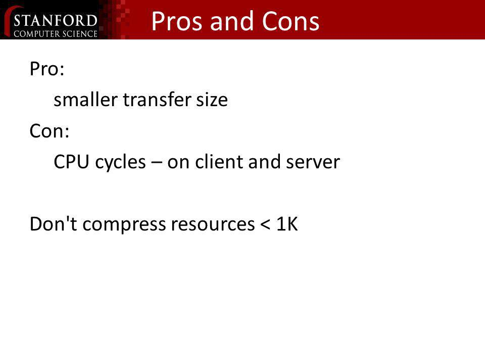 Pros and ConsPro: smaller transfer size Con: CPU cycles – on client and server Don t compress resources < 1K