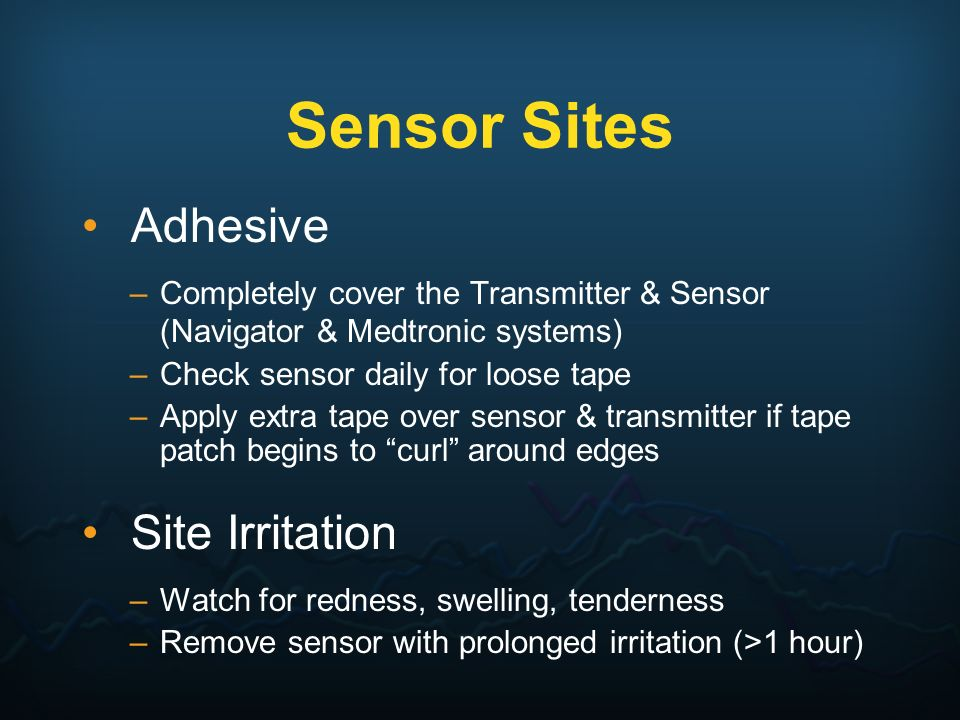 Sensor Sites Adhesive Site Irritation