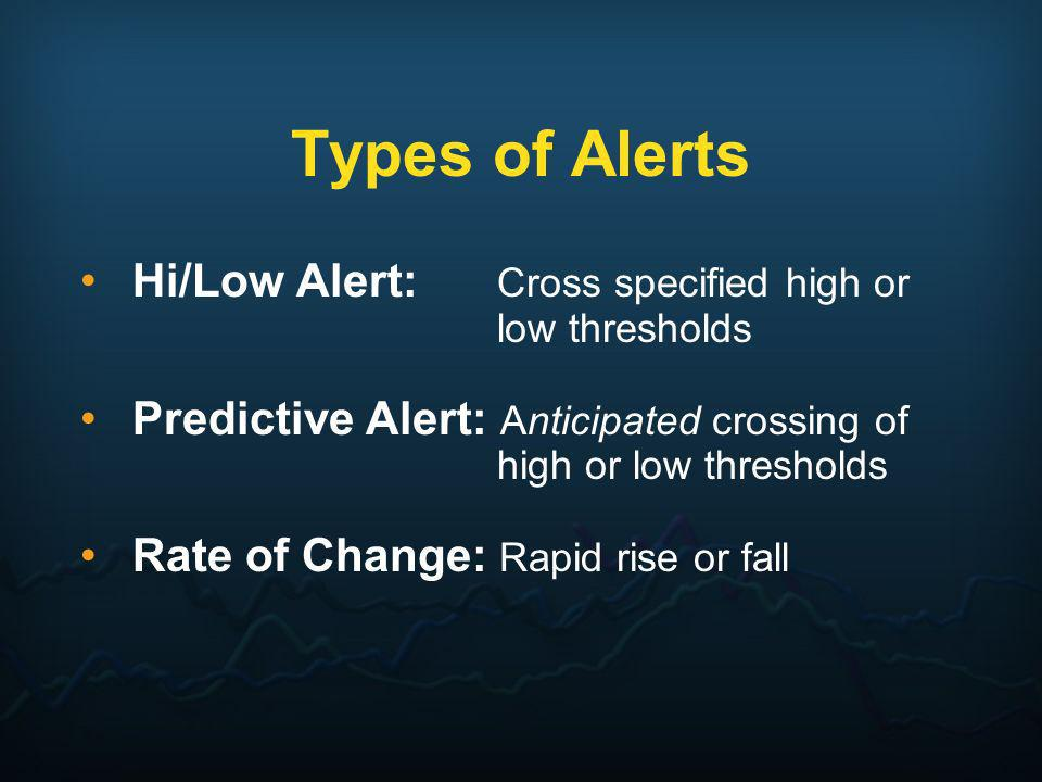 Types of Alerts Hi/Low Alert: Cross specified high or low thresholds