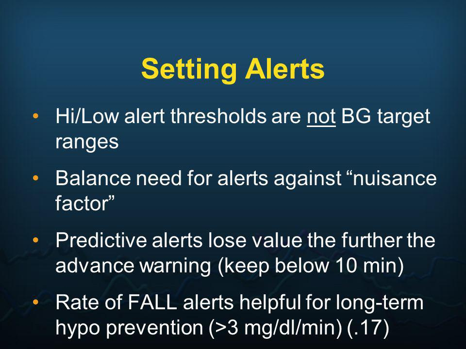 Setting Alerts Hi/Low alert thresholds are not BG target ranges