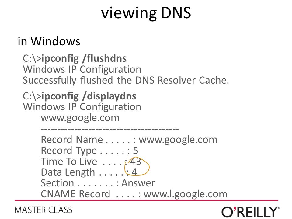 viewing DNS in Windows C:\>ipconfig /flushdns