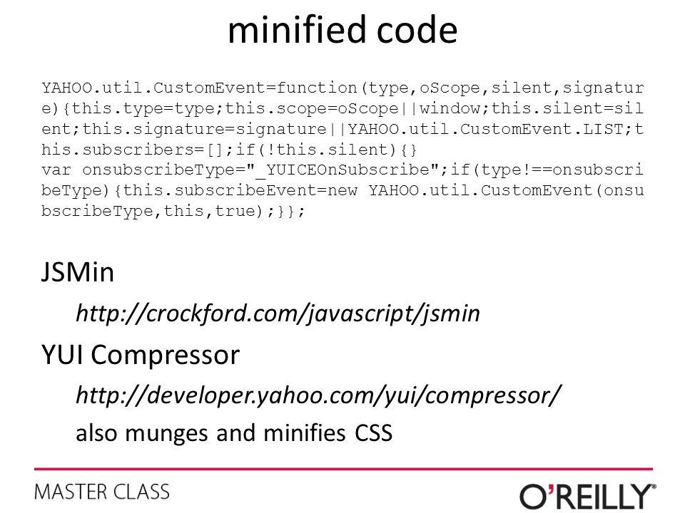 minified code JSMin YUI Compressor