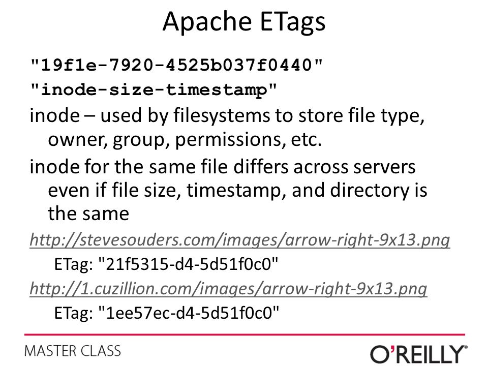 Apache ETags 19f1e b037f0440 inode-size-timestamp inode – used by filesystems to store file type, owner, group, permissions, etc.
