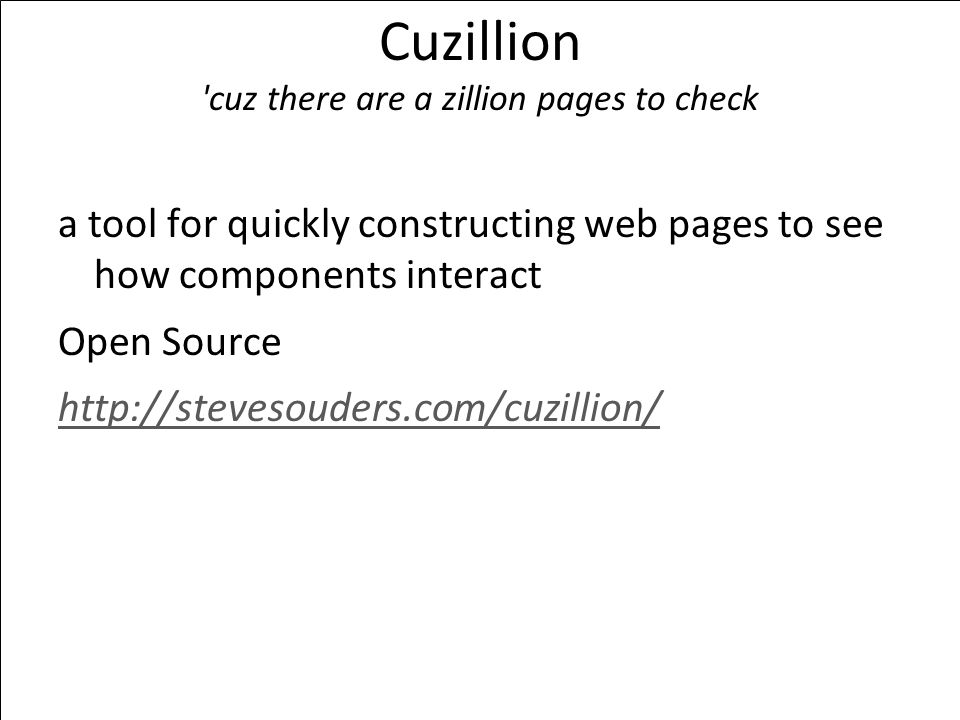 Cuzillion cuz there are a zillion pages to check