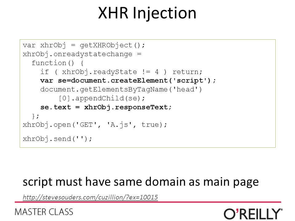 XHR Injection script must have same domain as main page