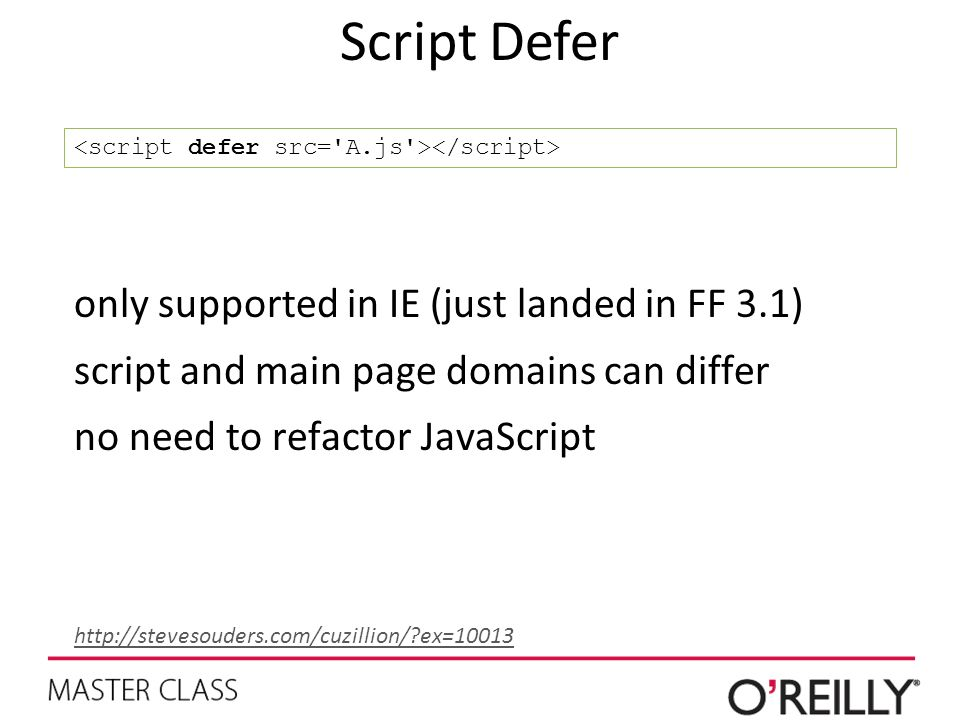 Script Defer only supported in IE (just landed in FF 3.1)