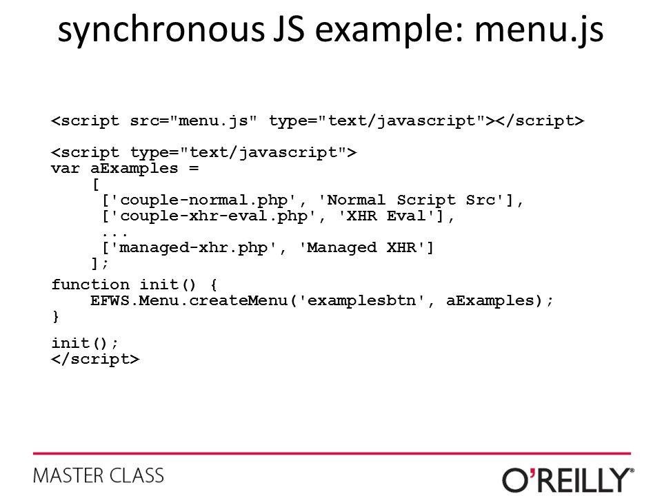 synchronous JS example: menu.js