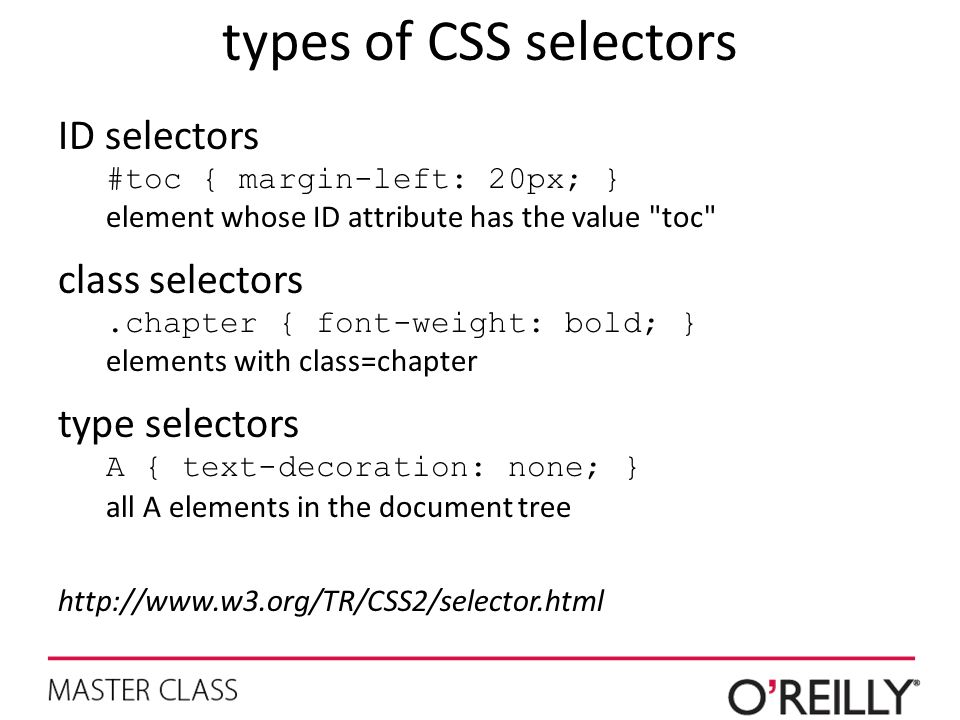 types of CSS selectors ID selectors class selectors type selectors