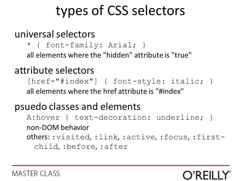 types of CSS selectors universal selectors attribute selectors
