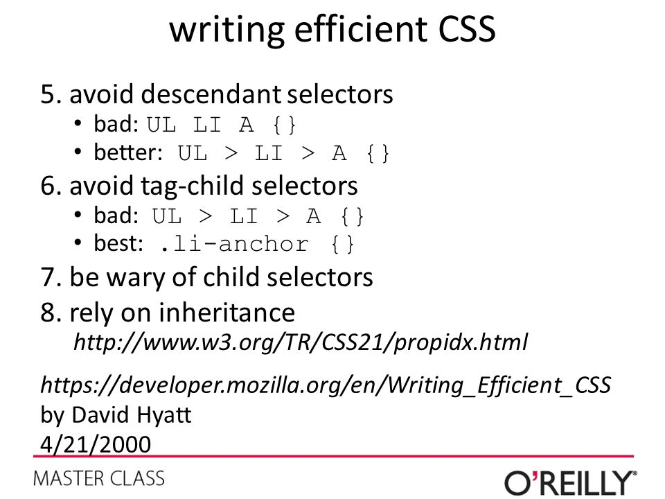 writing efficient CSS avoid descendant selectors