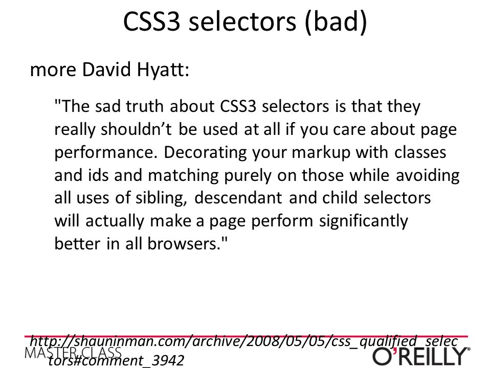 CSS3 selectors (bad) more David Hyatt: