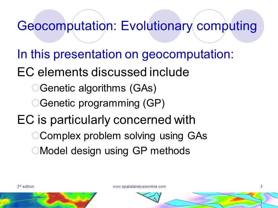 Geocomputation: Evolutionary computing