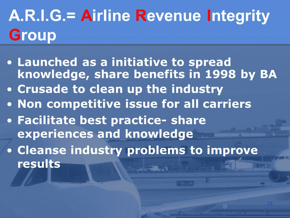 A.R.I.G.= Airline Revenue Integrity Group