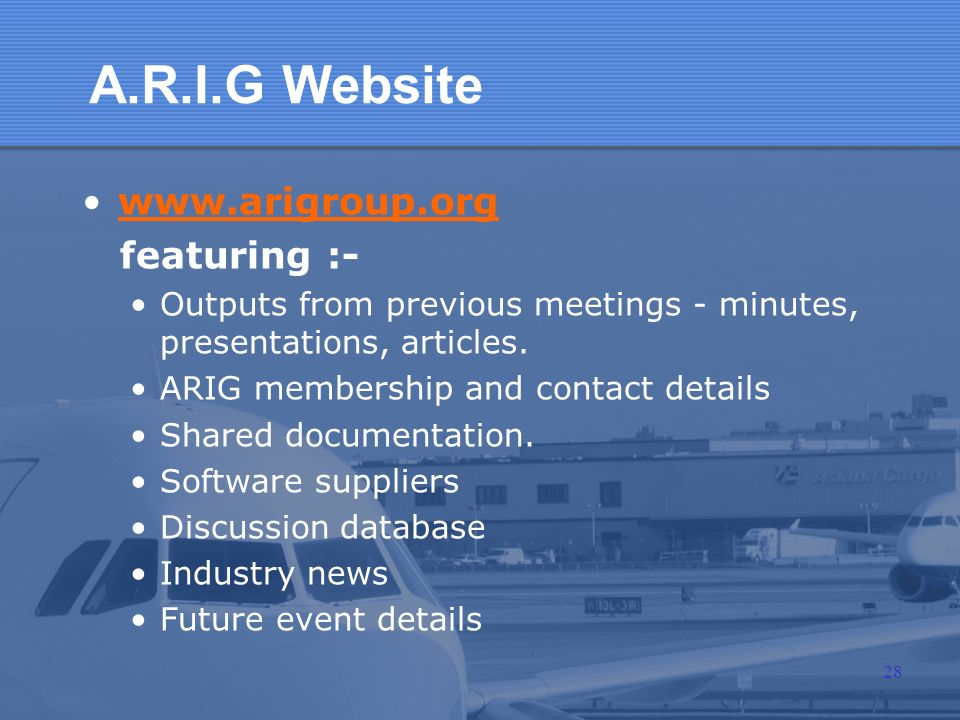 A.R.I.G Website www.arigroup.org featuring :-