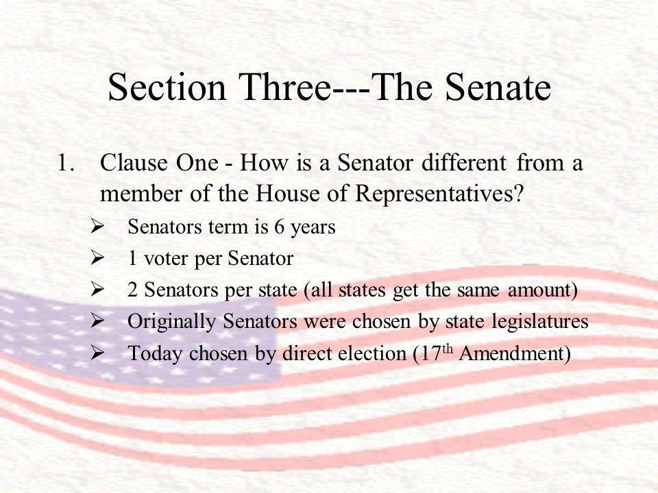 Section Three---The Senate