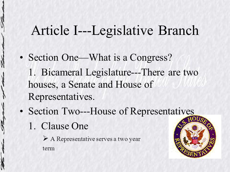 Article I---Legislative Branch