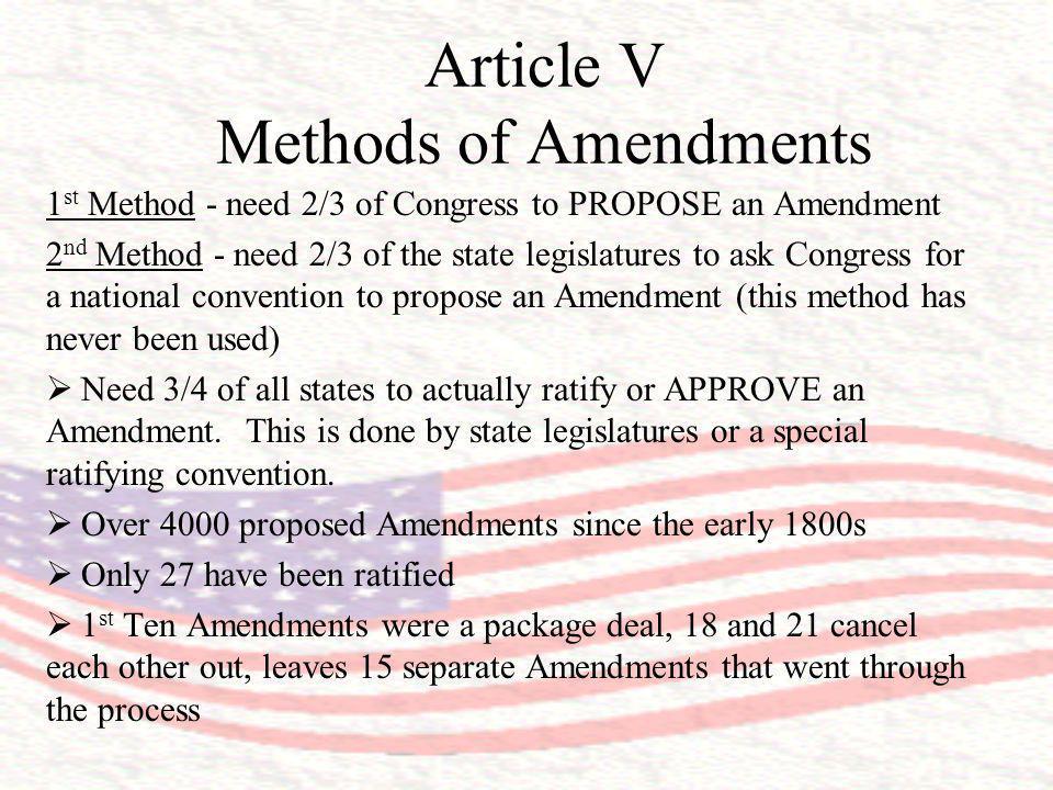 Article V Methods of Amendments