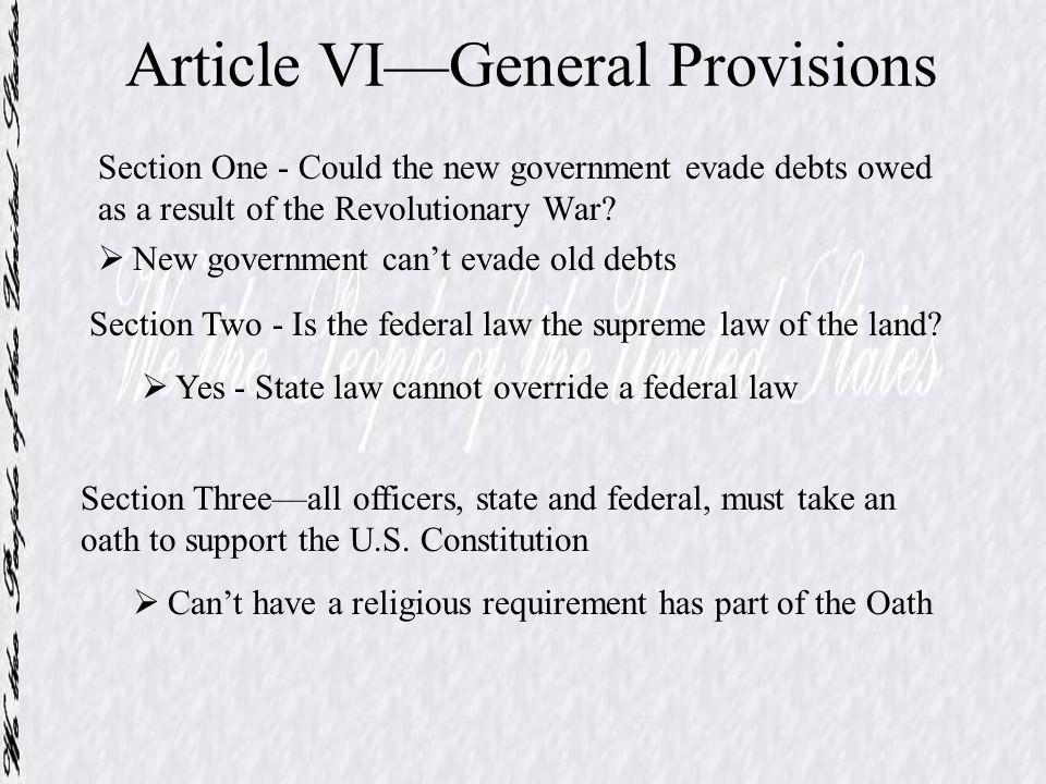 Article VI—General Provisions