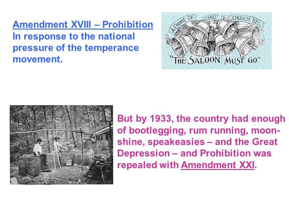Amendment XVIII – Prohibition