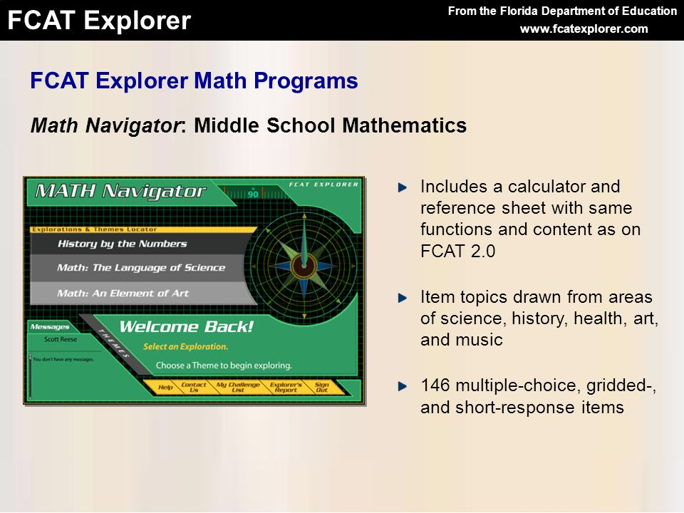 FCAT Explorer Math Programs