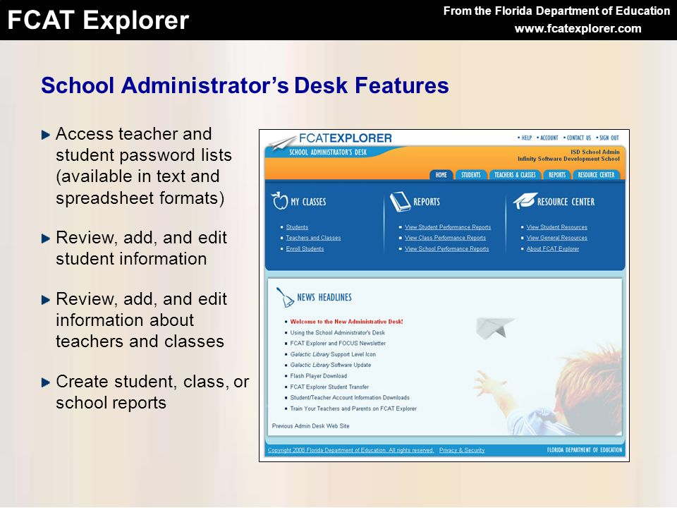School Administrator's Desk Features