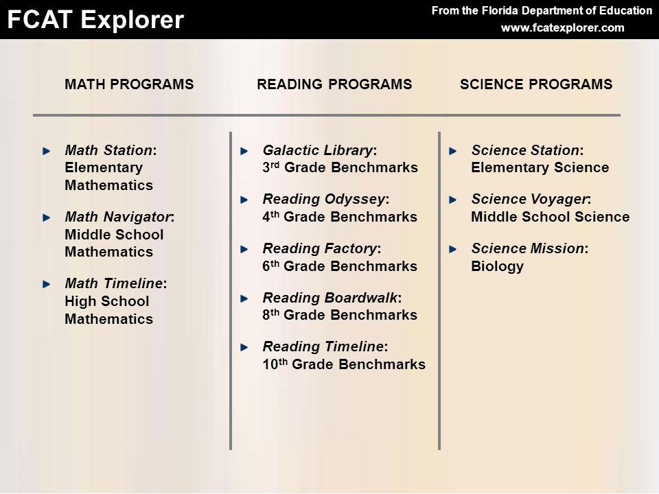MATH PROGRAMS READING PROGRAMS. SCIENCE PROGRAMS. Math Station: Elementary Mathematics.