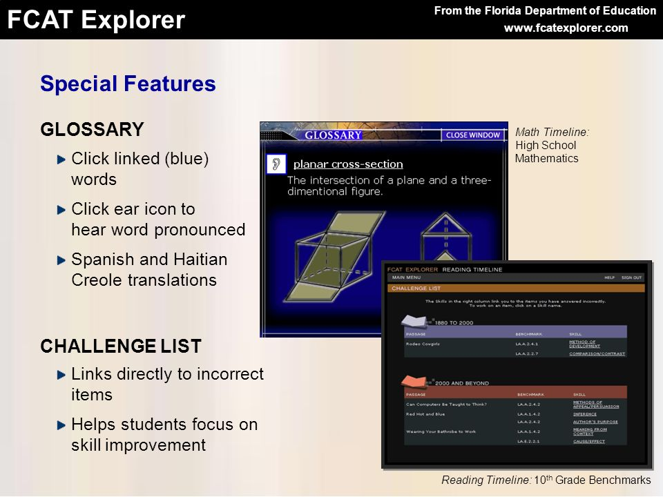 Special Features GLOSSARY CHALLENGE LIST Click linked (blue) words