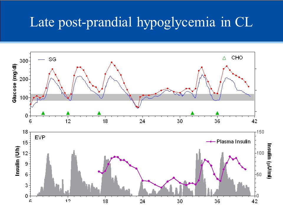 Late post-prandial hypoglycemia in CL