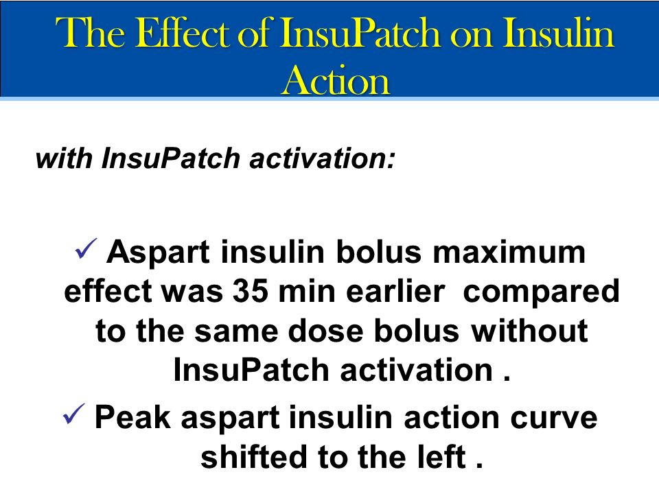 Peak aspart insulin action curve shifted to the left .