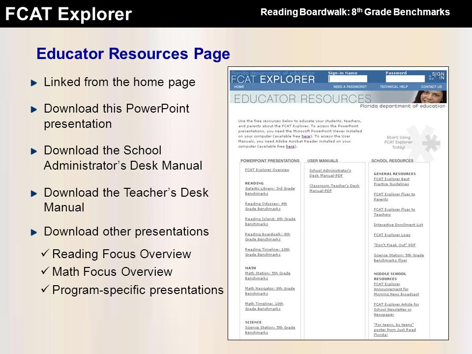 Educator Resources Page