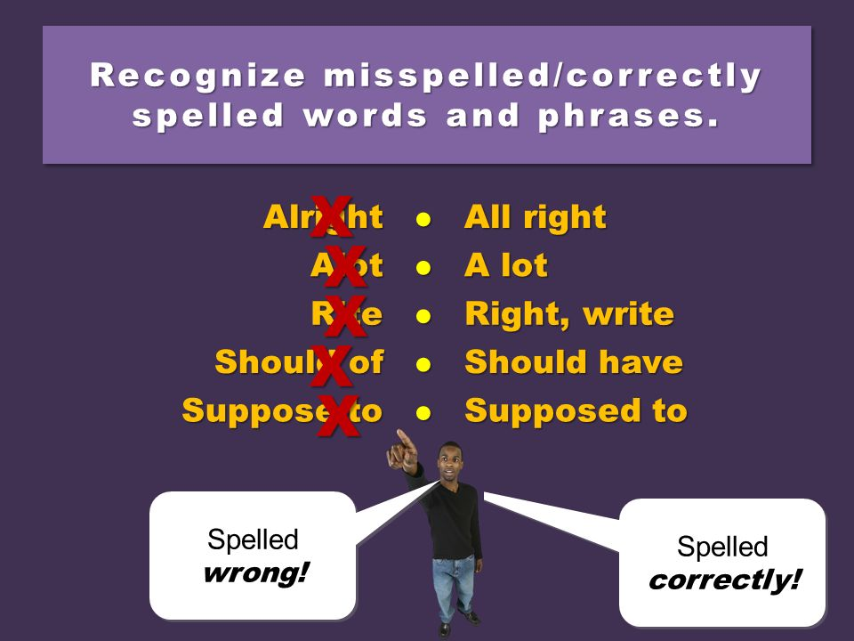 Recognize misspelled/correctly spelled words and phrases.