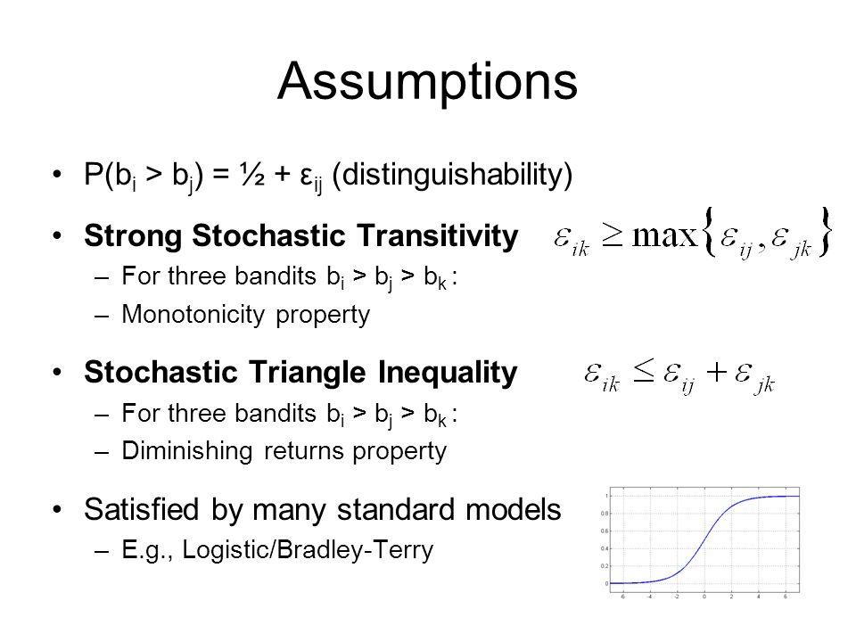 Assumptions P(bi > bj) = ½ + εij (distinguishability)