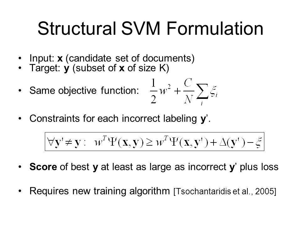 Structural SVM Formulation
