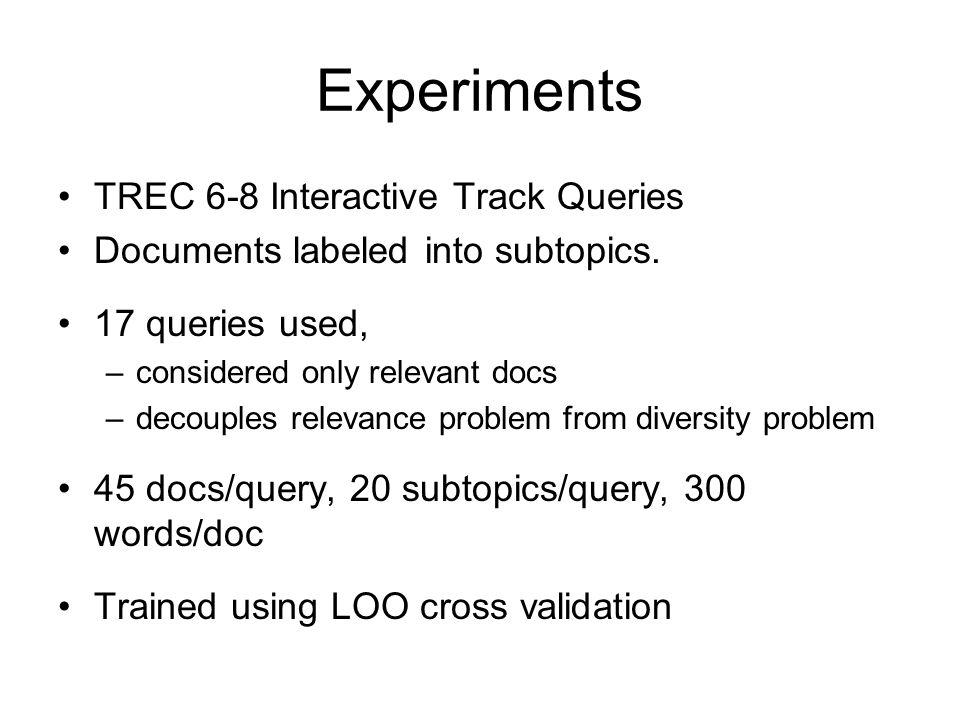 Experiments TREC 6-8 Interactive Track Queries