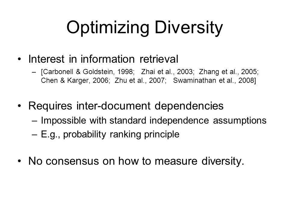 Optimizing Diversity Interest in information retrieval