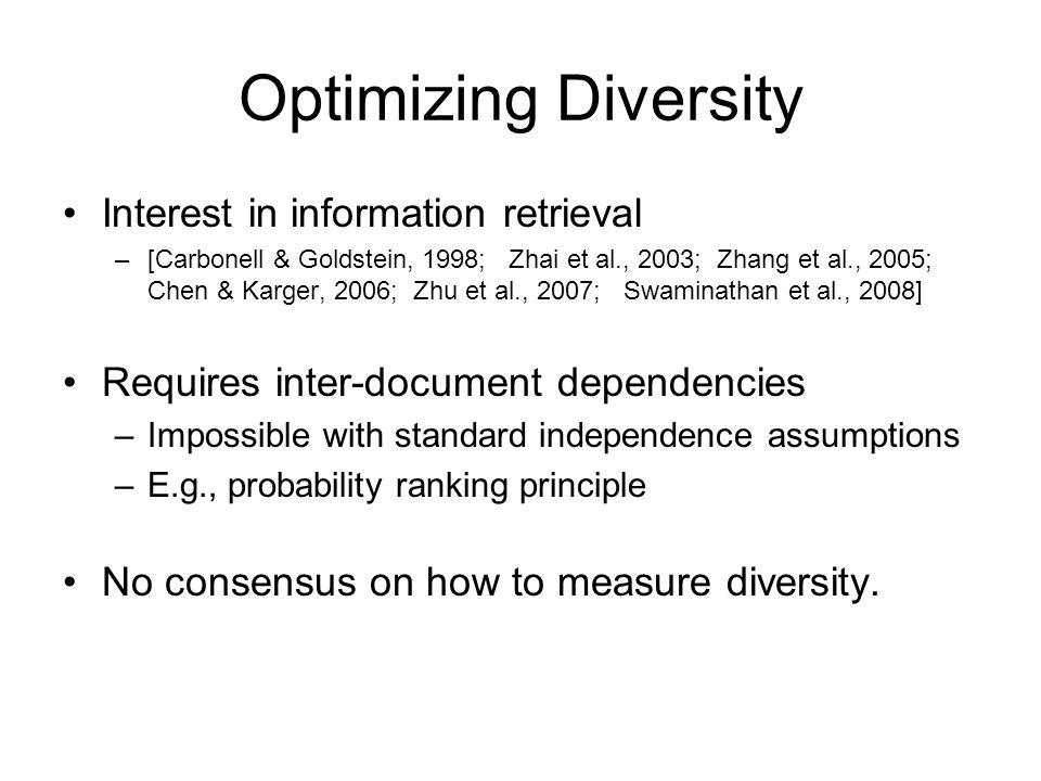 Optimizing Diversity Interest in information retrieval