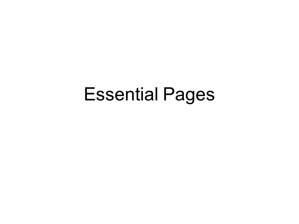 Essential Pages