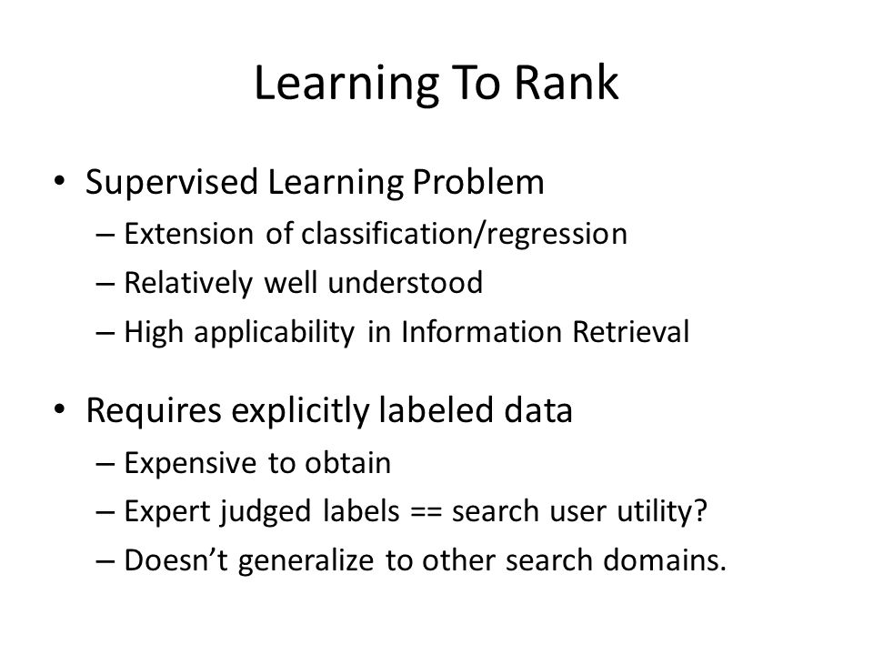Learning To Rank Supervised Learning Problem