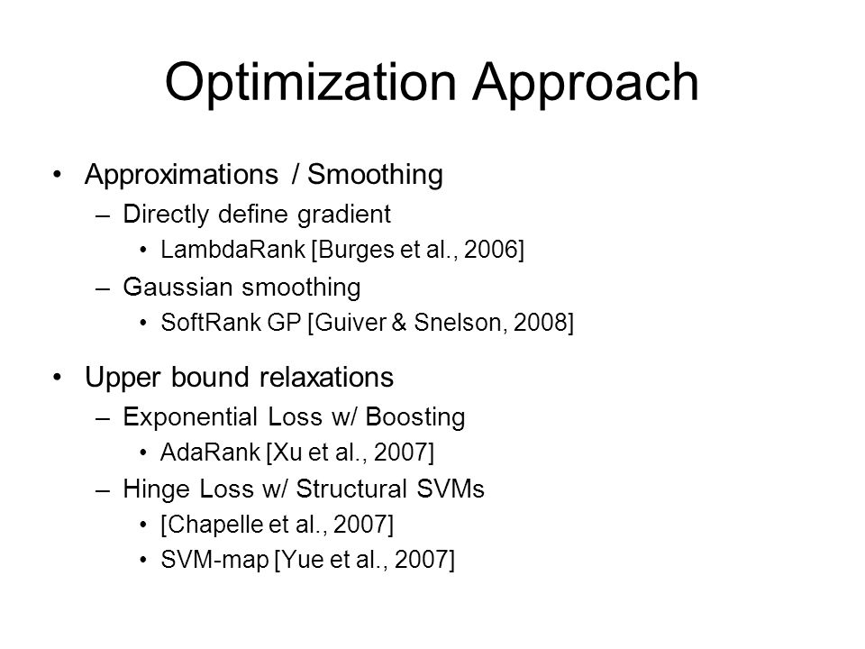 Optimization Approach