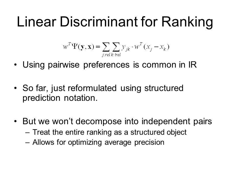 Linear Discriminant for Ranking