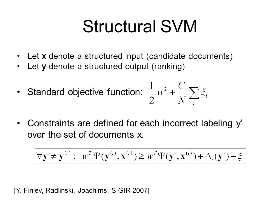Structural SVM Standard objective function: