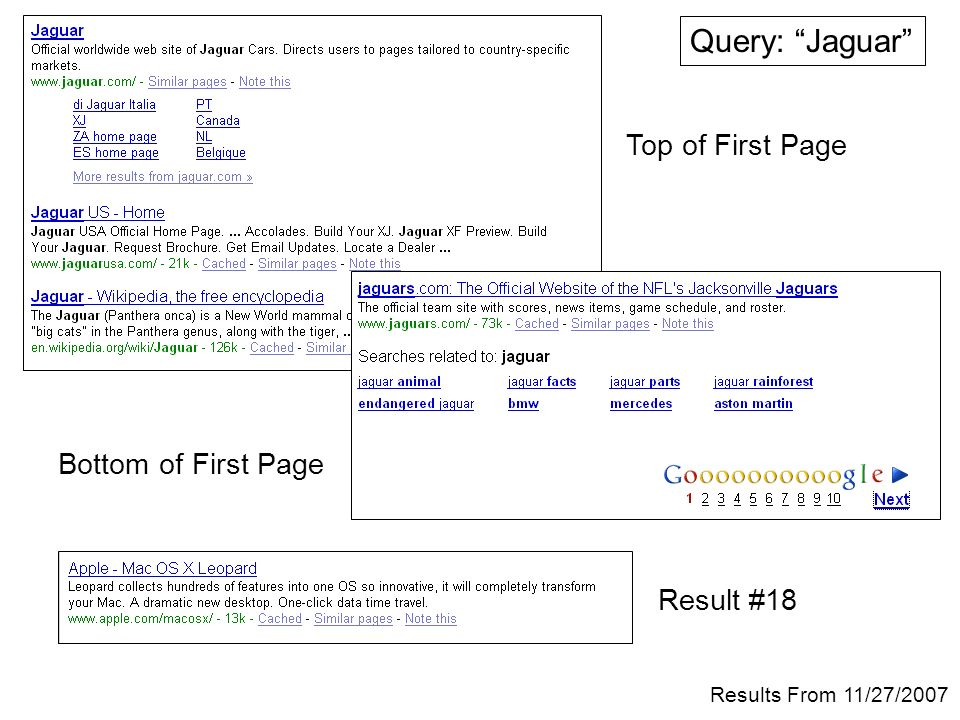 Query: Jaguar Top of First Page Bottom of First Page Result #18