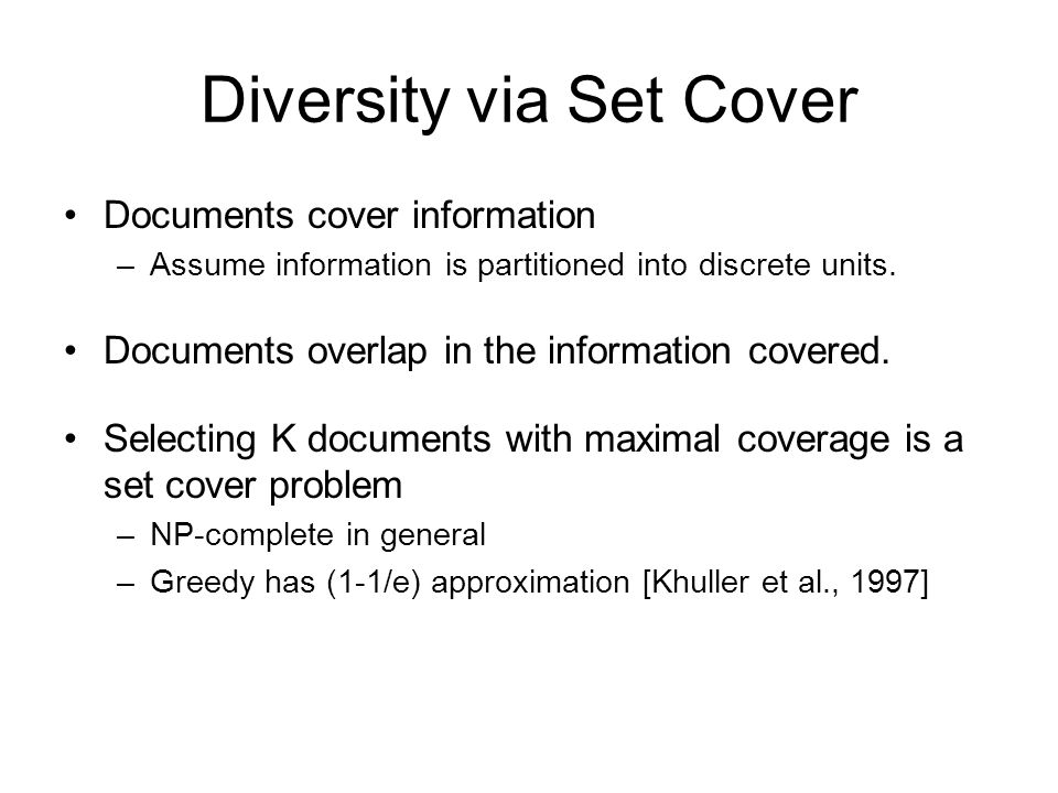 Diversity via Set Cover