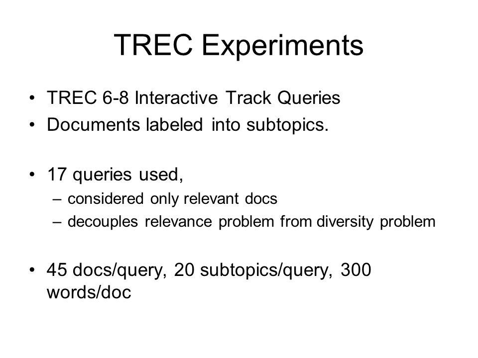TREC Experiments TREC 6-8 Interactive Track Queries