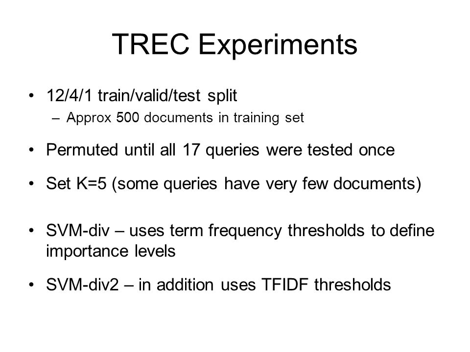 TREC Experiments 12/4/1 train/valid/test split