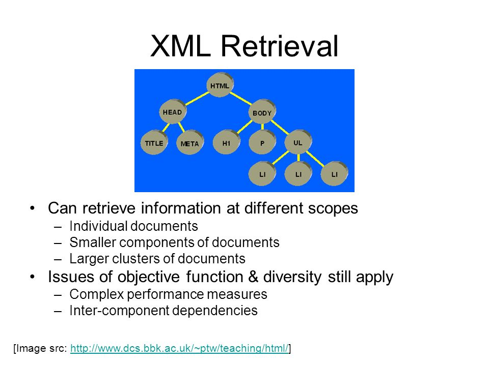 XML Retrieval Can retrieve information at different scopes
