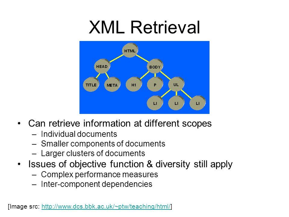 XML Retrieval Can retrieve information at different scopes