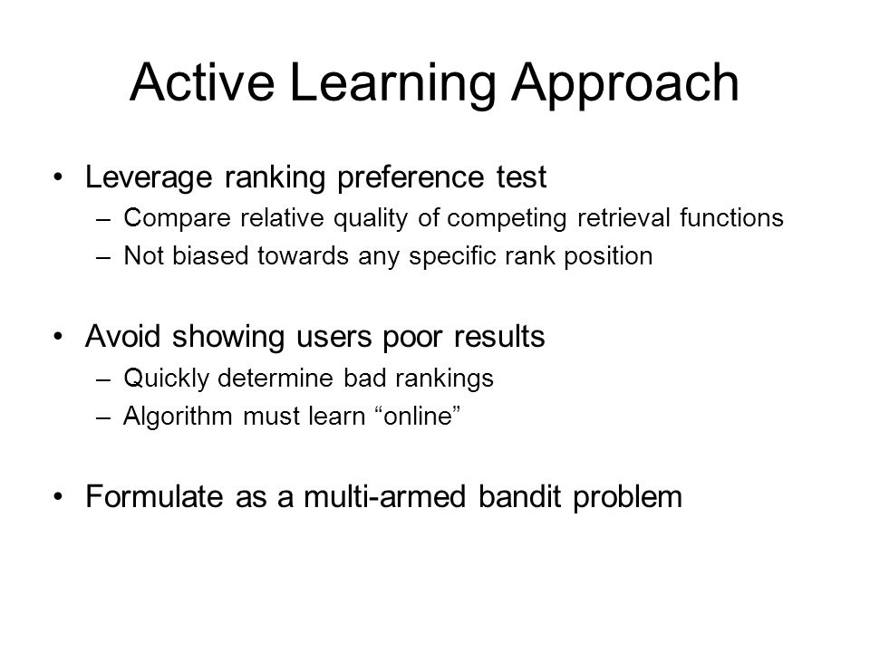 Active Learning Approach
